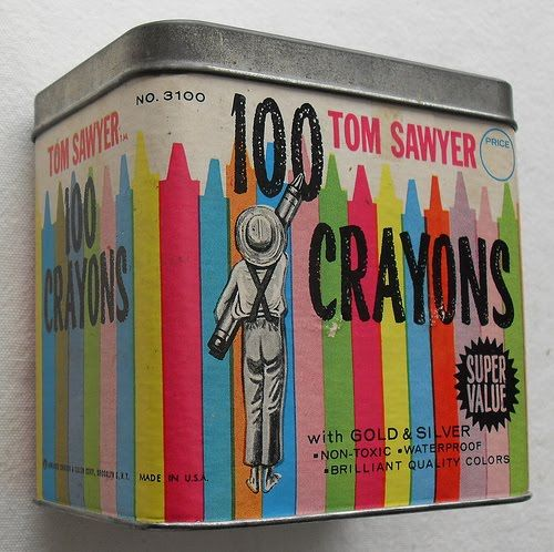 Vintage crayon tin.: Toms, Color, Large Tote, Sawyer Crayons, Vintage Toys, Crayons Large