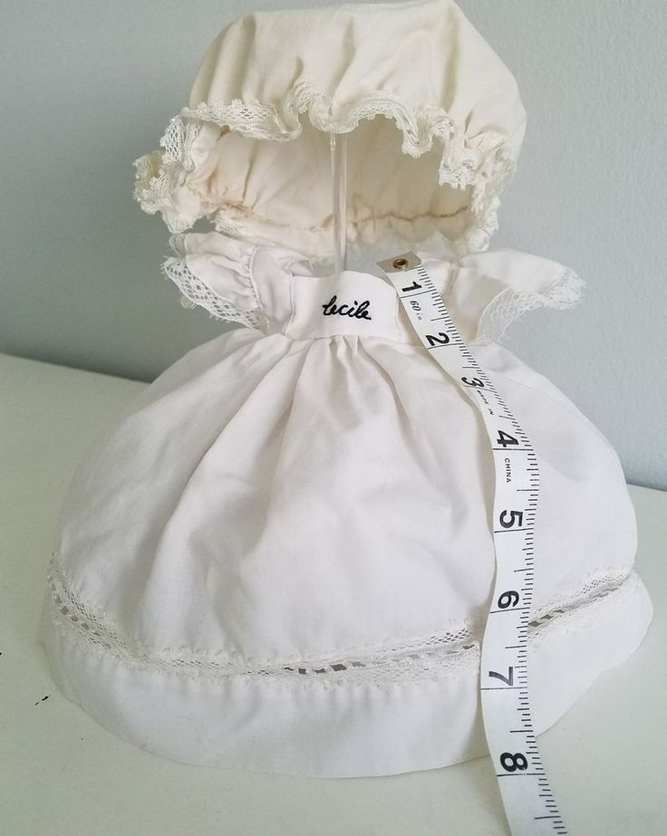 "A6 Vintage ""Cecile"" Frilly Lace Ruffle Doll Dolls Dress & Bonnet Hat Teddy Bear"