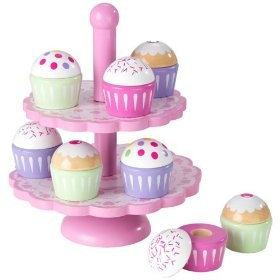 KidKraft Cupcake Stand Set, (play food, play kitchen toys, wooden toys, kid kraft, melissa and doug, pretend play, wood toys) Idea for bday present for lucie. She loves anything and everything to do with cupcakes lol