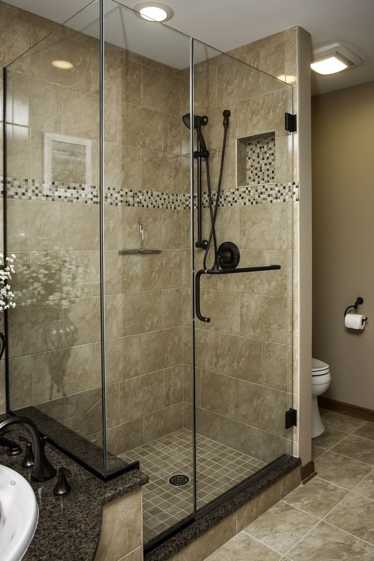 Plainfield Master Bath Shower Oil Rubbed Bronze Hardware Mosaic Accent Tile Frameless Glass