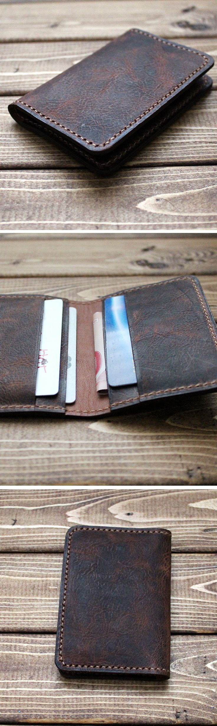 Vintage Washing Italian Genuine Leather Slim Wallet in DARK BROWN ESPRESSO Minimalist Perfect wallet! Hand stitched wallet will last a life time. men's best gift! Great for groomsmen gift, wedding, graduation, birthday, holiday, Christmas, anniversary gif