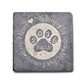 Personalized Memorial Pet Headstone Customized - No Longer By My Side - 6 x 6 Negro Marquina Marble