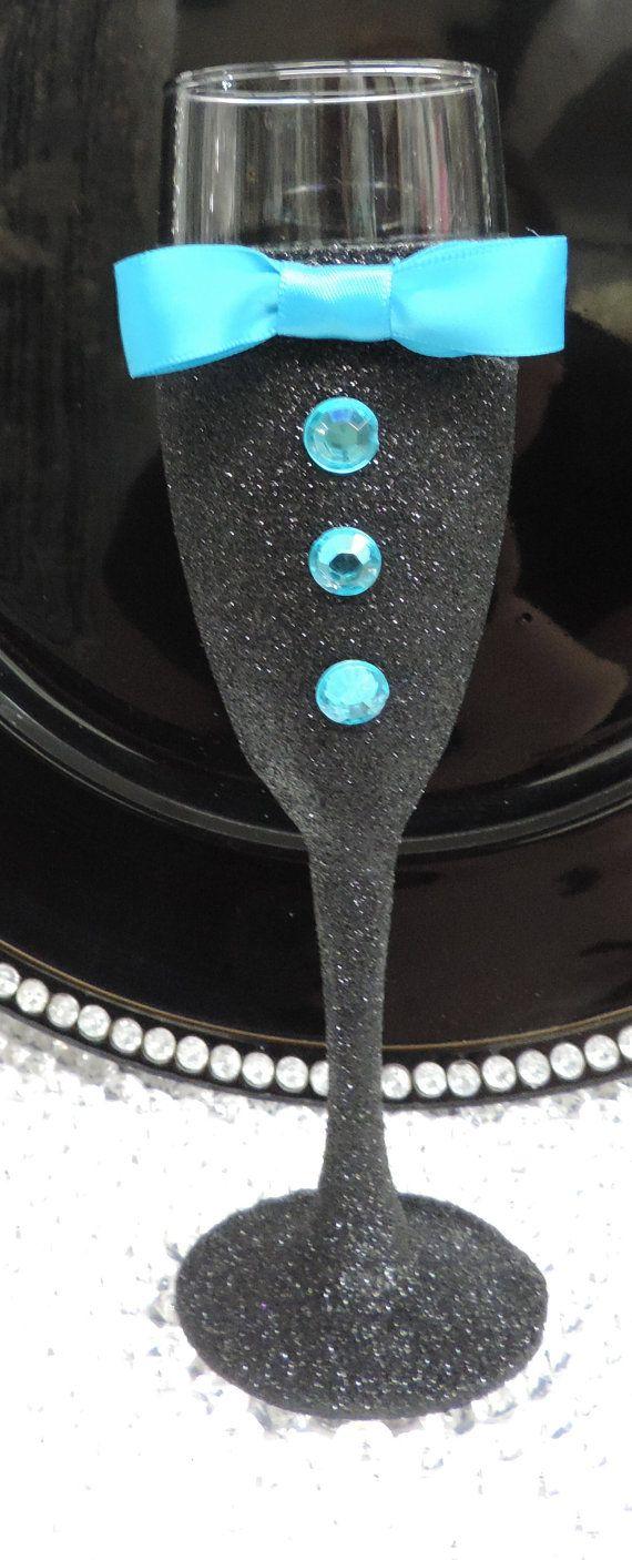 Black Glitter Tuxedo Wine/Champagne Flute Glass by LuxxCouture