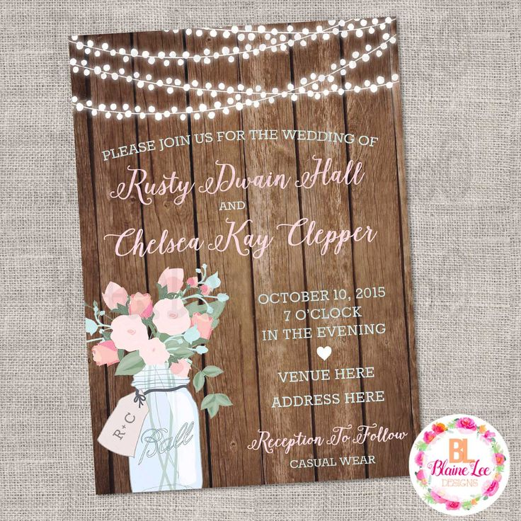 Rustic Mason Jar Floral Wedding Invitation
