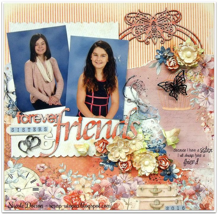 """Created with the Scraps of Elegance February kit """"Watercolor Wishes""""! View more at http://scrap-utopia.blogspot.ca/2017/02/forever-sisters-friends-scraps-of.html #scraputopia #scrapbooking #scrapsofelegancekits #soe"""