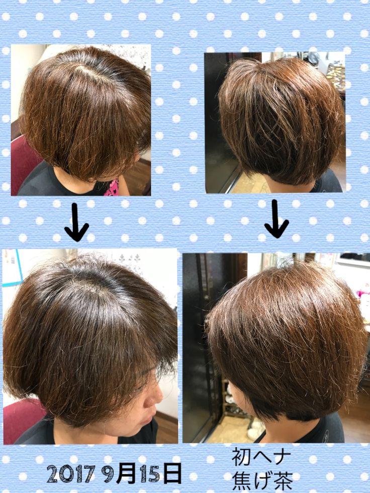 2017 9月15日 化学染めで 大分髪もパサパサ気味で 色が抜けておられ 生え際は 白髪も気になりました。 焦げ茶のみでやってみましたが 見事に白髪も綺麗に染まり 色が抜けてるところにヘナが絡みつき 一度で焦げ茶色が定着しました! 2w後は白髪はまだ出て来ませんから ヘナの成分が1番多いダイダイをのせてみます。
