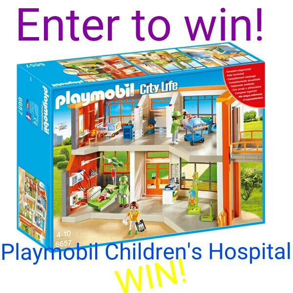 Win a PLAYMOBIL Furnished Childrens Hospital play set!  Includes:  three adult figures one child figure one baby figure five rooms (reception area, exam room, children's bedroom, babies' bedroom and bathroom) rolling beds reclining exam table tilting lights respirator defibrillator bandages stethoscopes medical charts and tools baby doll teddy bear and lots of other accessories For ages: 4-10 Approximate cost: $122.99   #christmas #xmas #giftideas #lego