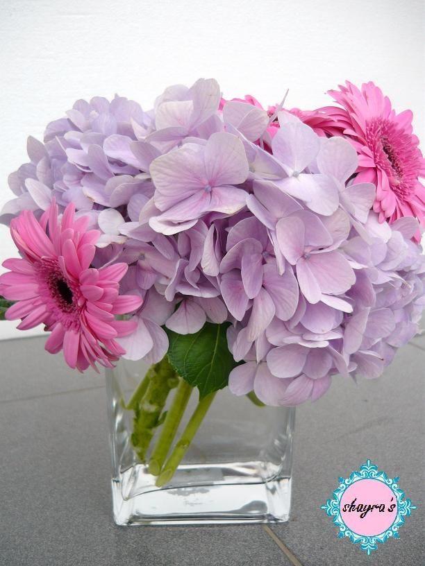 Gerber Daisy And Hydranga Centerpieces Pink Purple