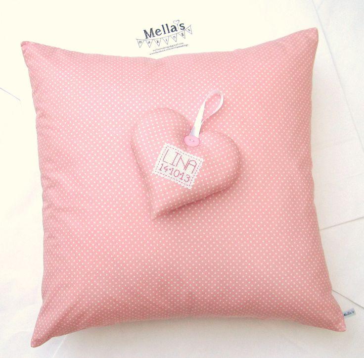 Pink Polka Dot Cushion - £20  Pink Polka Dot Personalised Keepsake Heart - £12
