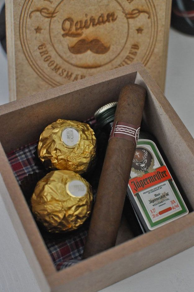 Alcohol with Cigar and Chocolates | #groomsmen #groomsmengifts #groom