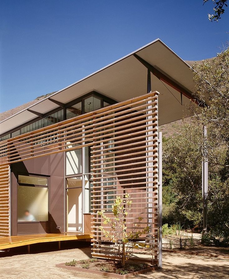 Wonderful Location For JFR Vacation Home By Fougeron Architecture:  Minimalist Entrance Exterior Look With The Wooden Shutters, Brown Wall, G.