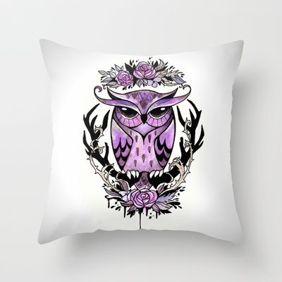 Hand-painted owl tattoo Throw Pillow by The Fanatic Calligrapher - $20.00