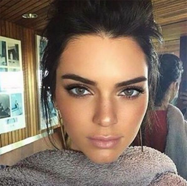 Kendall Jenner looks amazing with light blue eyes. It's obviously just for fun, but we kind of love the look.