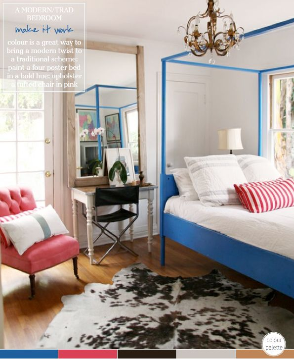 This room is so awesome and I love the pop of blue in the bed frame !