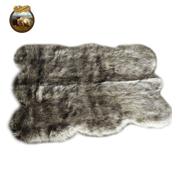 clearance sale soft faux fur area rug shaggy shag fake fur gray wolf hide