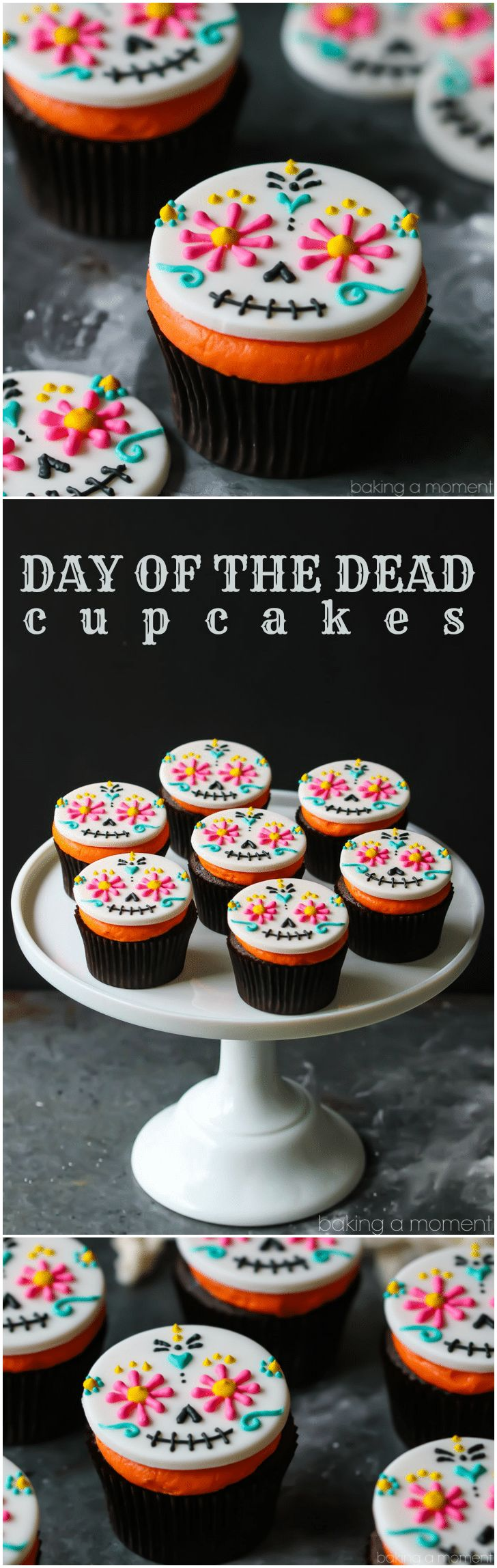 Day of the Dead Cupcakes- colorful fondant topper on a dark chocolate cupcake with bright orange frosting.