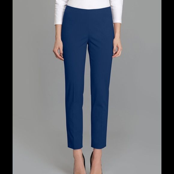 """Cropped Bleeker Ankle Pants Brightly-hued rich royal blue cotton with a comfortable stretch in a cropped silhouette. Concealed side zip closure and perfectly placed hip darts. Inseam 27"""" Cotton/Elastane                      Shopping women's clothing online pants handbags boots dresses sweaters skinny jeans jackets Lafayette 148 New York Pants Ankle & Cropped"""