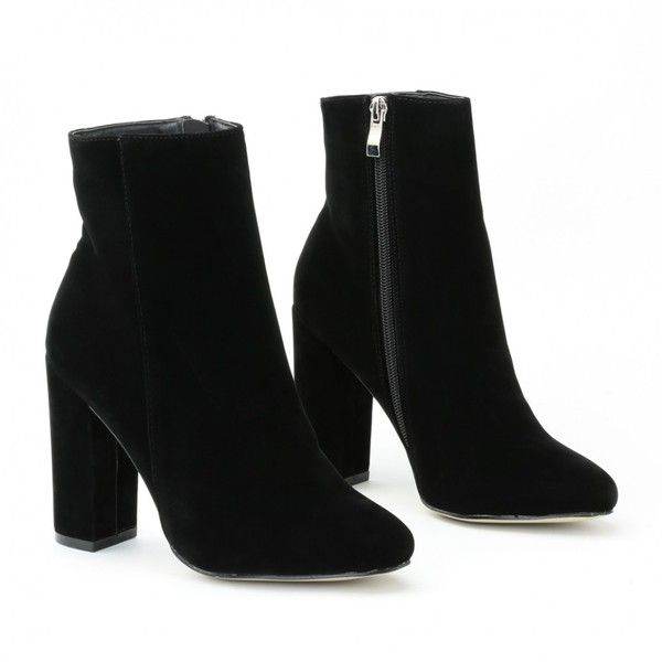 Presley Ankle Boots in Black Faux Suede (259360 PYG) ❤ liked on Polyvore featuring shoes, boots, ankle booties, heels, chunky black boots, block heel ankle boots, black bootie boots, short black boots and chunky booties