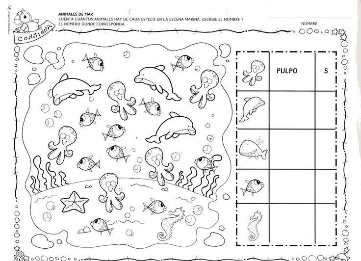 Vissen tellen met kleuters. Free printable