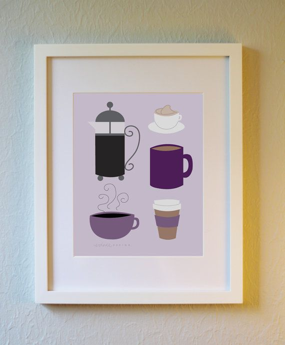 Cute Art Print  Coffee Love  5x7 8x10 or 11x14. by evincedesign