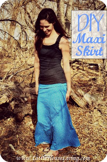 Cute and easy DIY Maxi Skirt step by step picture tutorial. This skirt will be fun and comfortable for summer!