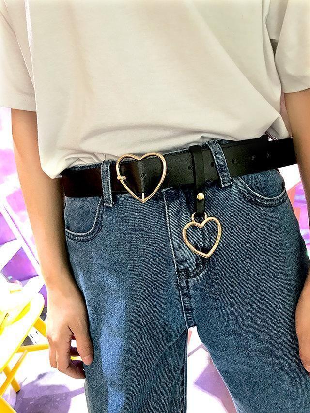 81a7215230fbce itGirl Shop HEART BUCKLE BLACK PU BELT WITH HEART KEYCHAIN Aesthetic Apparel