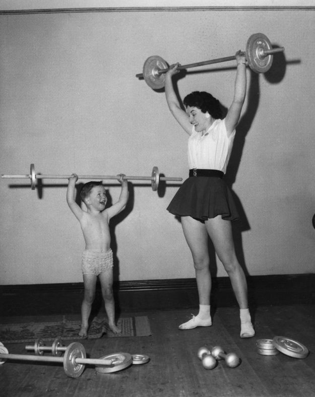 Aw! This mother-son team wins the 1959 Home Olympics. | 20 Redonk Ways People Worked Out In The OldenDays