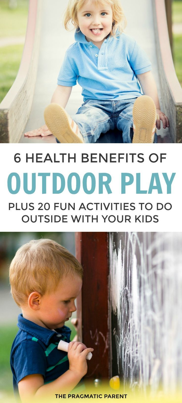 How much time do your kids spend outside? 6 Health Benefits of Outdoor Play plus 20 Fun Ideas for Getting Outdoors ​and Turning Off Screens. Playing outside is fun and crucial to child development and brain function in children. Outdoor activities make playing outside fun and engaging. 20 outdoor play ideas. #playingoutside #outdoorplay #childdevelopment via @https://www.pinterest.com/PragmaticParent/
