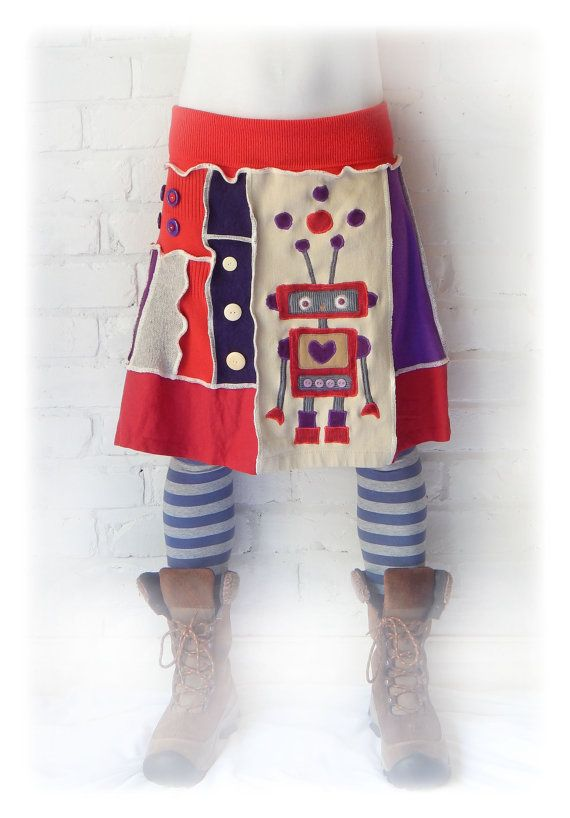Robot Cyber Skirt Upcycled Festival Funky SciFi by TheTopianDen
