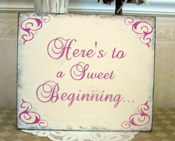 SWEET BEGINNING sign Shabby wedding bridal by SignsByDiane on Etsy, $39.95
