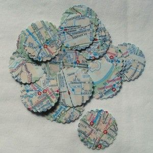 scrapbooking circles out of old maps :)