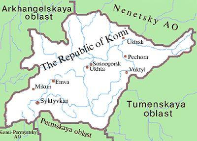 Komi republic map of Russia