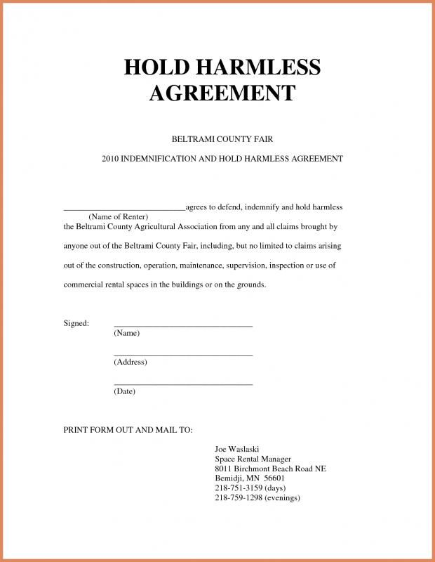 Simple Hold Harmless Agreement template Pinterest Template