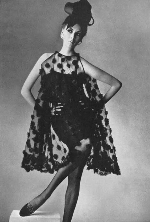 Model Wilhelmina Cooper is wearing a dress by Townley and Roger Vivier shoes. Photo by Irving Penn. Vogue UK, March, 1965