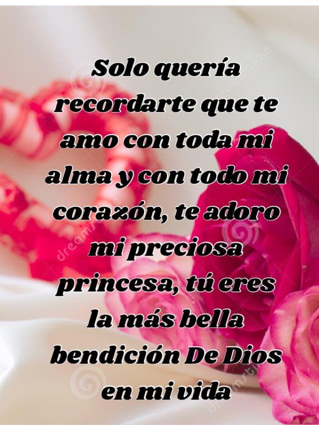 Solo quería recordarte que te amo con toda mi alma y con todo mi corazón, te adoro mi preciosa princesa, tú eres la más bella bendición De Dios en mi vida
