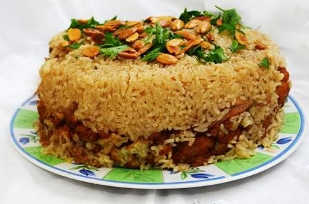 makloubeh (Upside down rice and lamb casserole)