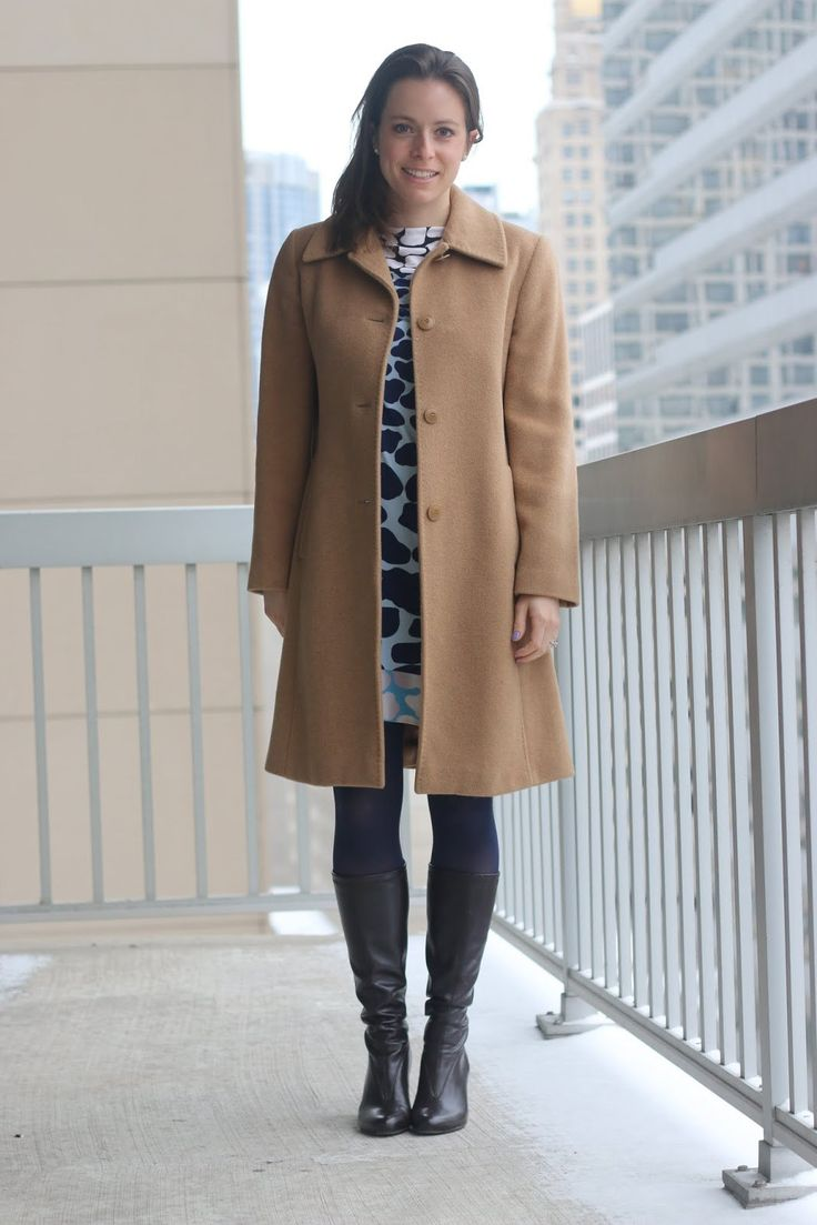 FashionablyEmployed.com   Thrifted giraffe print DVF dress, thrifted camel hair coat, navy tights and brown boots, expert thrifting tips from seasoned thrifters, wear to work office style