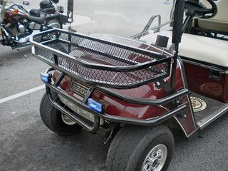 Combine a brush guard with a front basket to give a custom look to your golf cart.