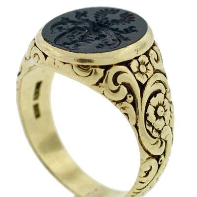 Victorian 14kt & Bloodstone Family Crest Intaglio Ring