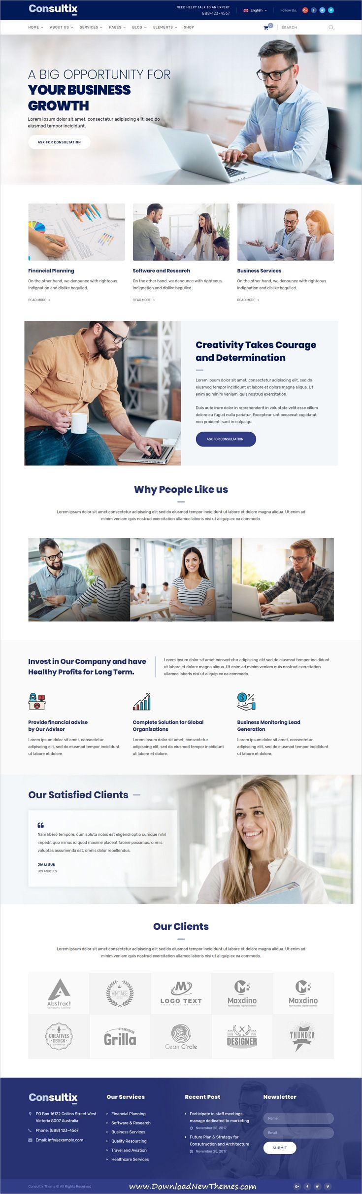Consultix is clean and modern design responsive #WordPress #template for professional corporate business and financial services website with 14 niche homepage layouts to live preview & download click on image or Visit #sitetemplate