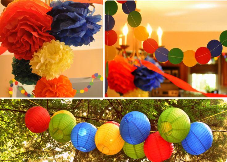 décoration fête avec des lanternes en papier