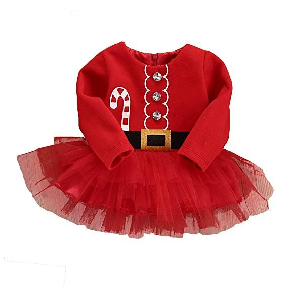 Red Baby Girl Clothes XMAS Santa Yying Claus Party Tulle Dress Outfits 70CM e598e0cb3