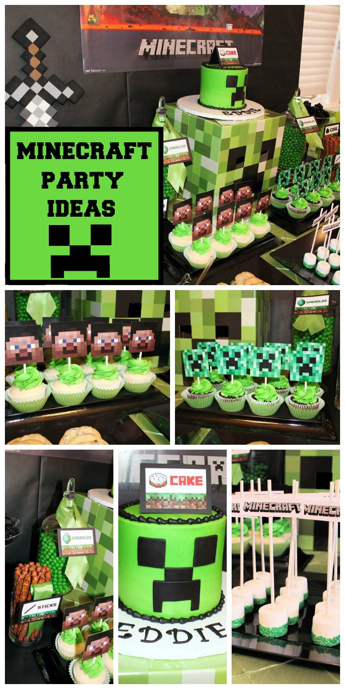 What a great Minecraft birthday party with themed party food and a fun cake and decorations!  See more party planning ideas at CatchMyParty.com!