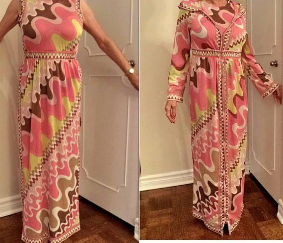 Emilio Pucci Set Long Maxi Dress Night Gown & Coat Robe Jacket