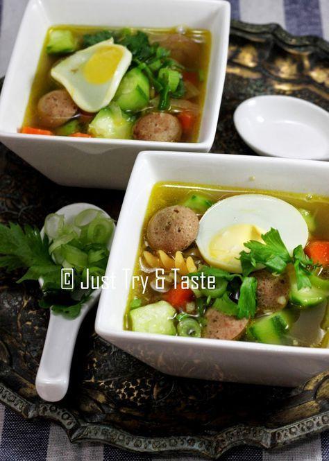 Just Try & Taste: Sup Telur Puyuh dengan Sosis, Makaroni dan Sayuran
