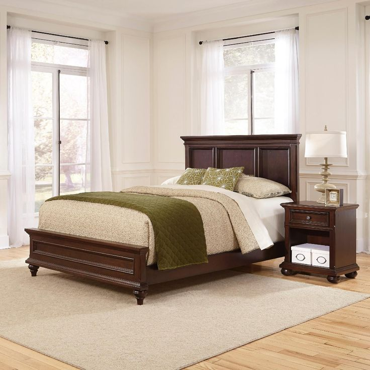 marble top bedroom furniture%0A Home Styles Colonial Classic Queen Bed and Night Stand  Brown