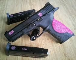 Smith and Wesson M&P 9mm shield hot pink glitter-love love love! Find our speedloader now! http://www.amazon.com/shops/raeind