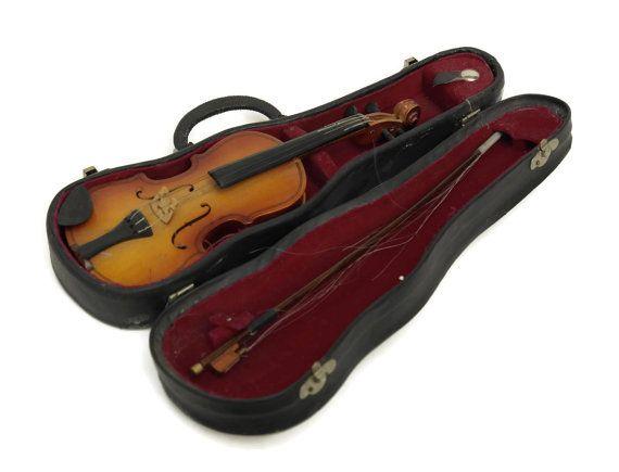 Miniature Violin In Case.  Vintage Toy Violin. by LeBonheurDuJour