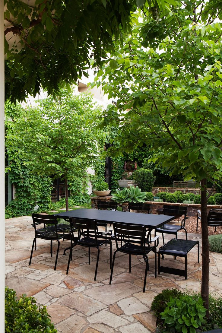 The buildings, the walls, and the floors are all draped in plants, softening strong lines and providing the clients with a wonderful, inviting garden to spend time in.