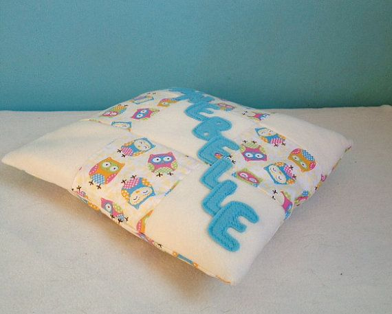 Cushion personalised in owl fabric and fleece. by Kirstyflo, €20.00